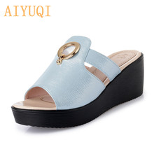 AIYUQI Womens Slippers on platform 2019 new summer womens sandals genuine leather fashion wedge footwear