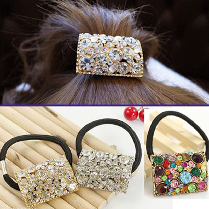 Fashion Headwear Square Crystal Ponytail Holder Rhinestone Elastic Hair  Rope Hairband New d4c45a0e979