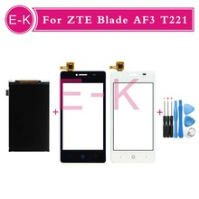 "high quality 4.0"" For ZTE Blade AF3 T221 Touch Screen Digitizer Sensor Glass + Lcd display Black White +Tools Free shipping"