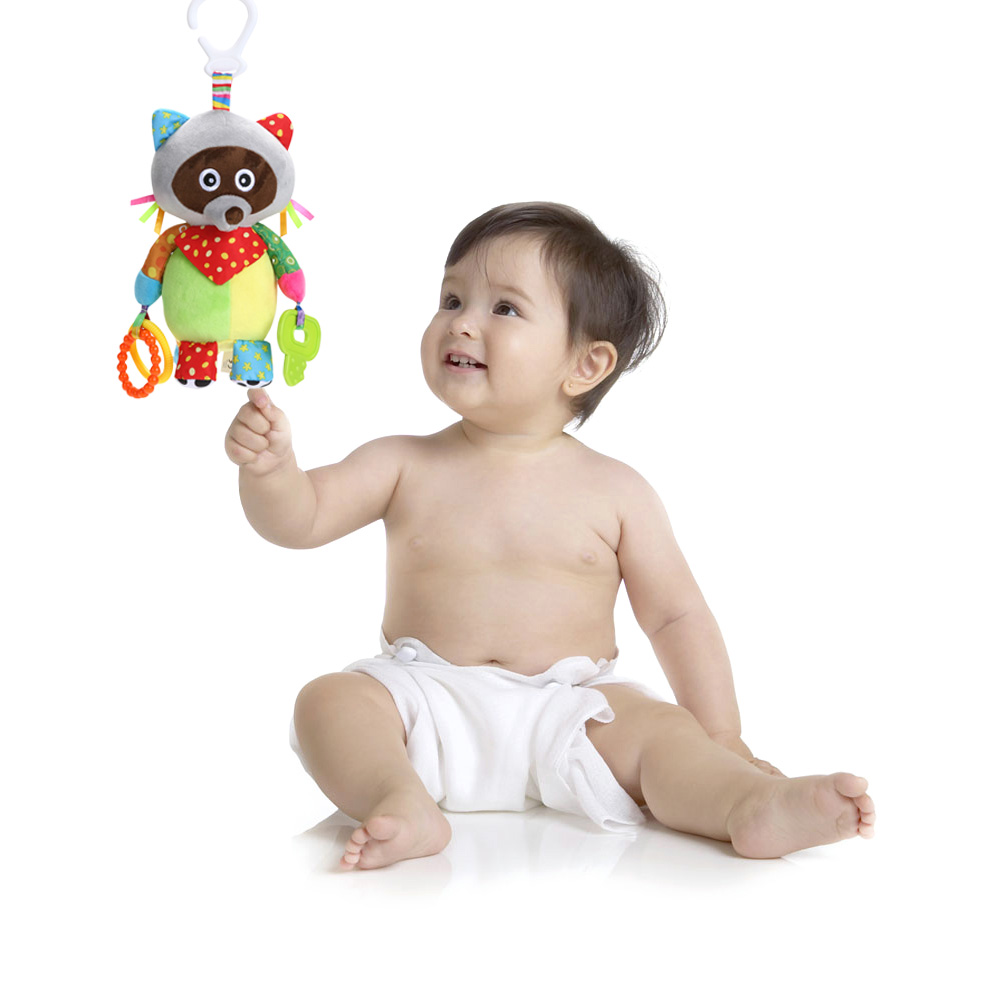 Baby Teether Bed Stoller Hanging Soft Cartoon Toys Muit-Function Plush Rattle Toys Animal Raccoon Educational Musical Soft Toys happy baby teether keys красный