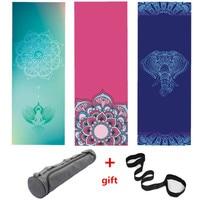 183*68 Cm Natural Rubber Slip resistant Yoga Mats Yoga Blanket Suede Printing Folding Fitness Mat Gift Yoga Mat Bag Strap