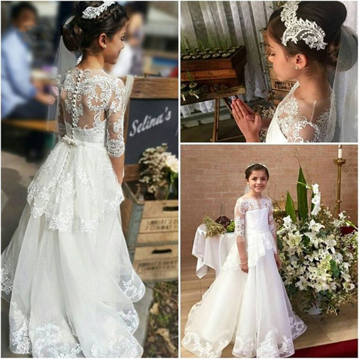 New High Quality A-Line White Lace Flower Girls Dresses O-Neck Long Sleeve Girls First Communion Dress Vestido Daminha Size2-14Y