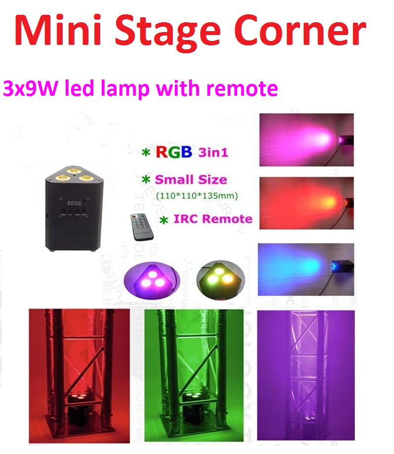 2016 New Mini Led Par Lights 3x9W 3in1 RGB Led Corner Light Stage Effect Lighting with Remote DMX Control DJ Disco Party Shows mini rgb led party disco club dj light crystal magic ball effect stage lighting