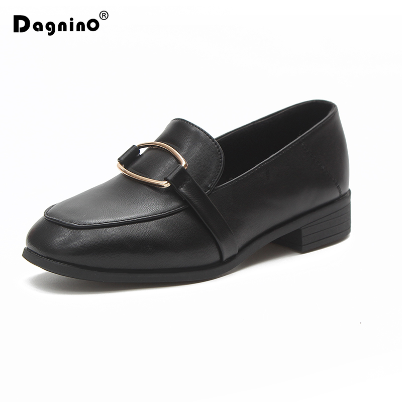 DAGNINO Spring Autumn Women Loafers Pu Leather Slip On Flat Walking Shoes Low Heels Metal Woman Casual Shoes Black Zapatos Mujer women s shoes 2017 summer new fashion footwear women s air network flat shoes breathable comfortable casual shoes jdt103