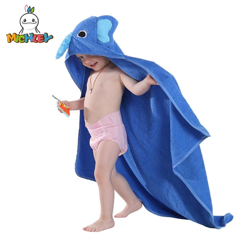 MICHLEY Kids Towel 2019 Toddler 100% Cotton Bathrobe Baby Boys Girls Spring Animal Hooded Bath Towel Children Cartoon Towel QWA