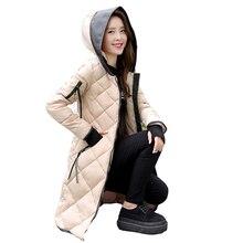2016 Женщины Зима в длинный отрезок Тонкий Хлопок Ватник С Капюшоном Куртка Куртки И Ветровки Топы для женщин
