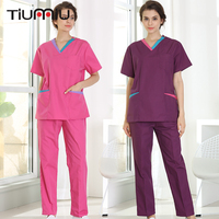 High Quality Doctors Nurses Medical Uniform Nursing Scrub Sets short Sleeve Hospital Dentles Workwear Tops and Pants