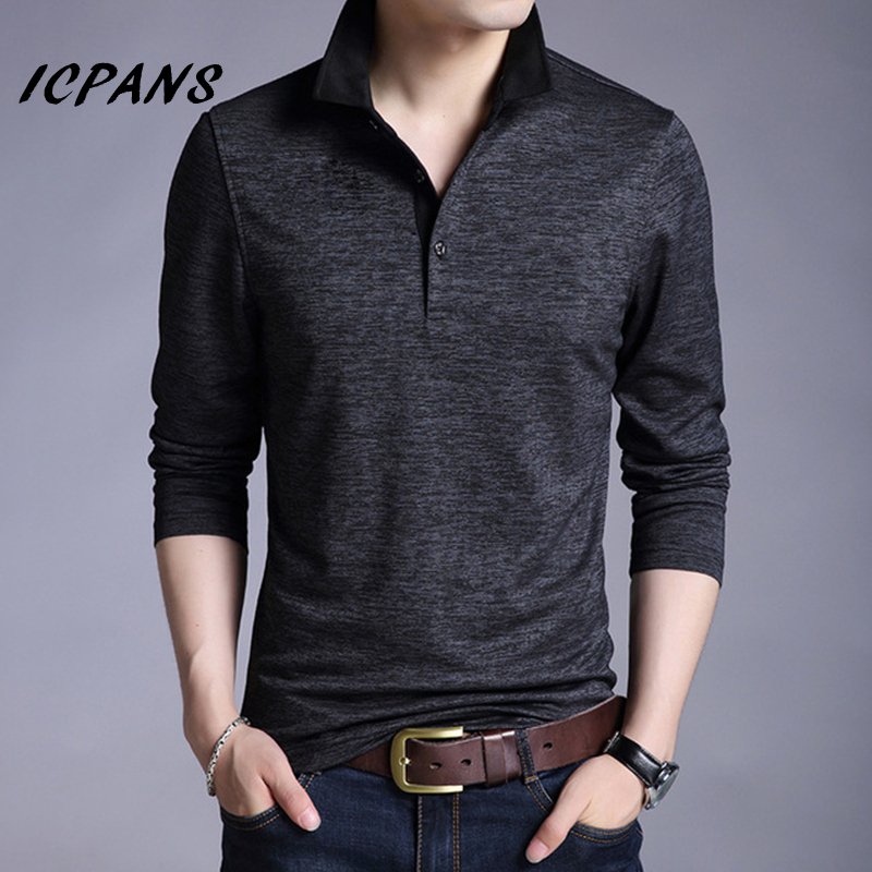Icpans Black Button Long Sleeve T Shirt Men Slim Fit Cotton