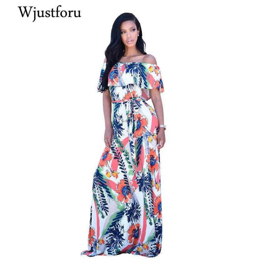 Wjuetforu Summer Sexy Printed Reffle Elegant Dress Women Casual Bench Loose Maxi Dress Slash Neck Off Shoulder Dress Female