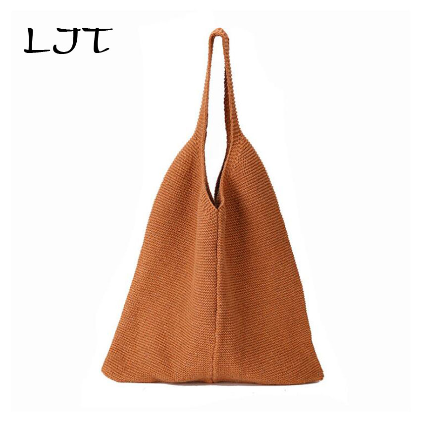 LJT Winter New Knit Shoulder Bags for Women 2018 Retro Yarn Knitting Ladies Handbag Hot Sale Female Casual Bucket Bag for Girls hot sale real rabbit fur hats for women winter knitting wool hat women s beanies 2017 brand new thick female casual girls cap