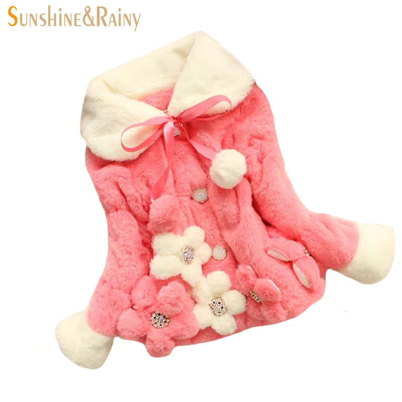 New Princess Baby Girls Coats Winter Warm Girls Party Outerwear Luxury Faux Fur Coats Clothes Girls Villus Flower Cute Coats