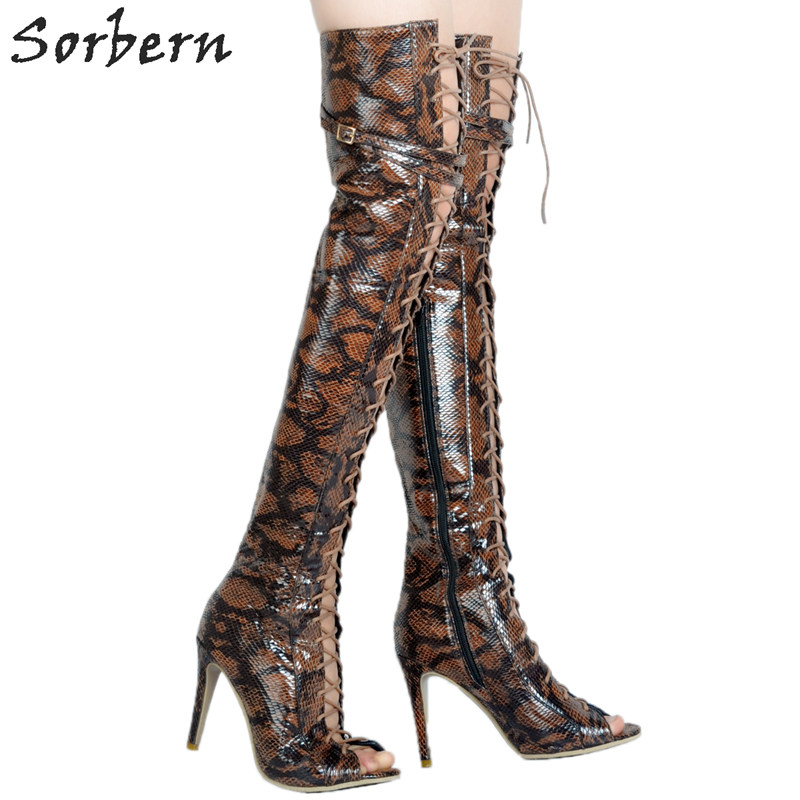 Peep Toe Mangmai Brown Women Over The Knee Boots For Women Plus Size New Ladies Boots Lace Up Front High Heel ShoesPeep Toe Mangmai Brown Women Over The Knee Boots For Women Plus Size New Ladies Boots Lace Up Front High Heel Shoes