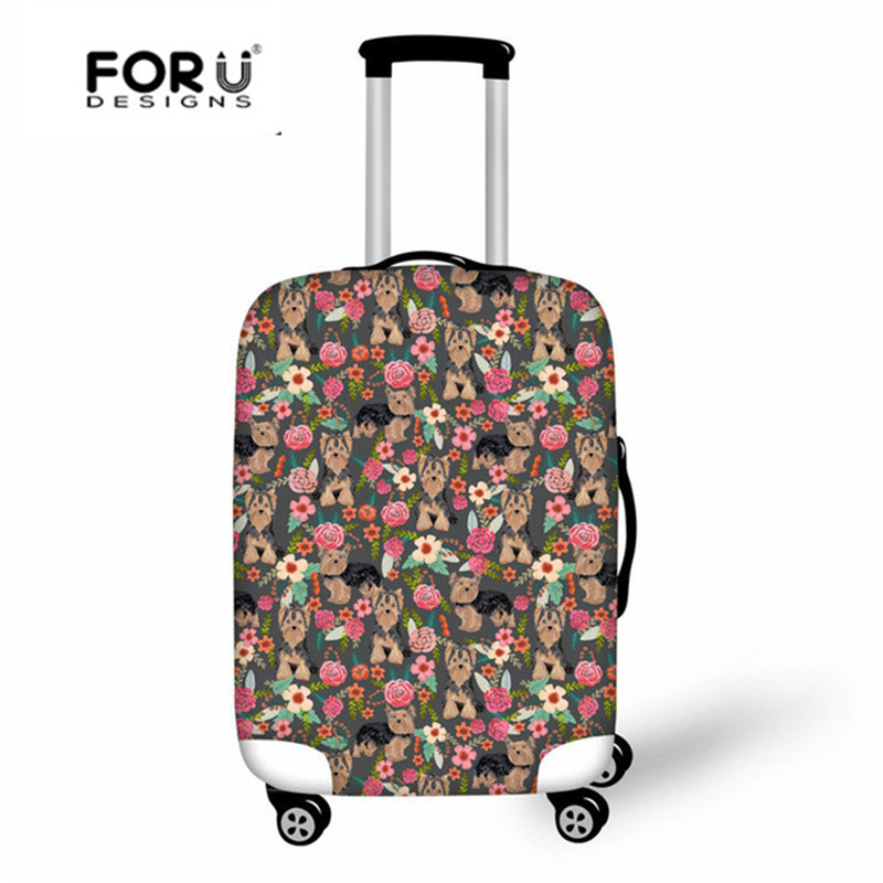 FORUDESIGNS Travel Suitcase Cover Yorkshire Terrier Printing Luggage Protective Covers For 18-30 Inch Case Thick Elastic Cover