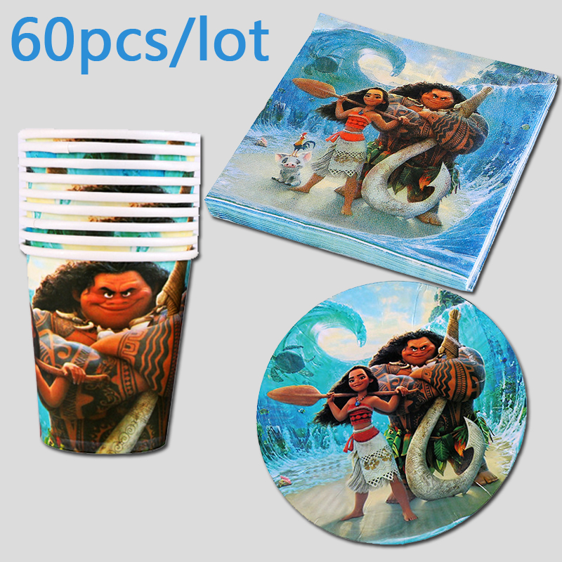 Girls Favors Moana Theme Decoration Birthday Party Cups Glass Plates Dishes Baby Shower Paper Napkins Events Tableware Set 60pcs in Disposable Party Tableware from Home Garden