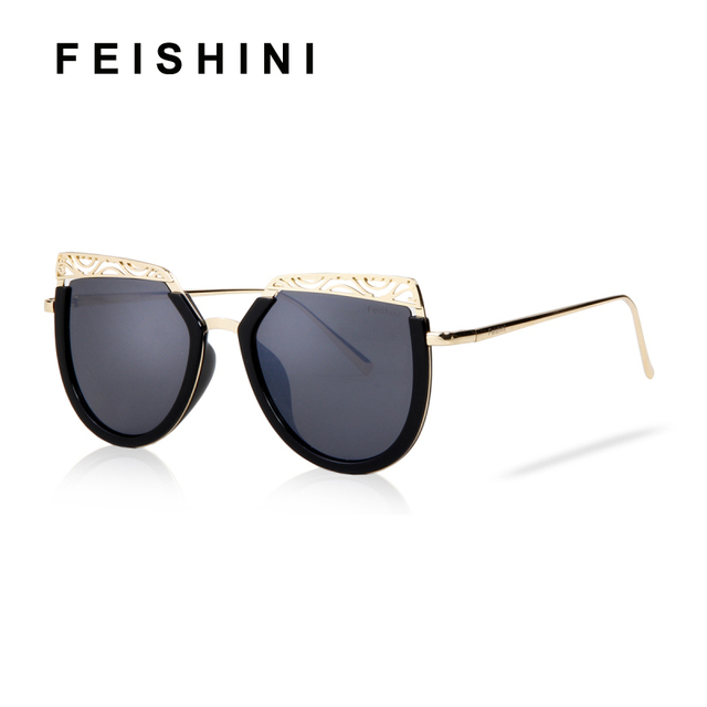 25f0de61d7 FEISHINI UV Protection Anti-Reflective Gradient Cateye Sunglasses Women  Metal Hollow Out Design Champagne Sun Glasses Vintage