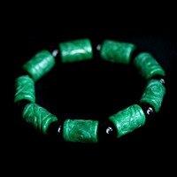 Natural Green Jade Carved Barrel Beads Passepartout Bracelet Fashion Men Jewelry Bracelets