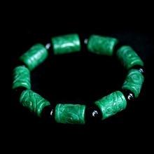 Естественный зеленый камень резные баррель бусины Паспарту Браслет Мужская Мода Ювелирные Изделия Браслеты