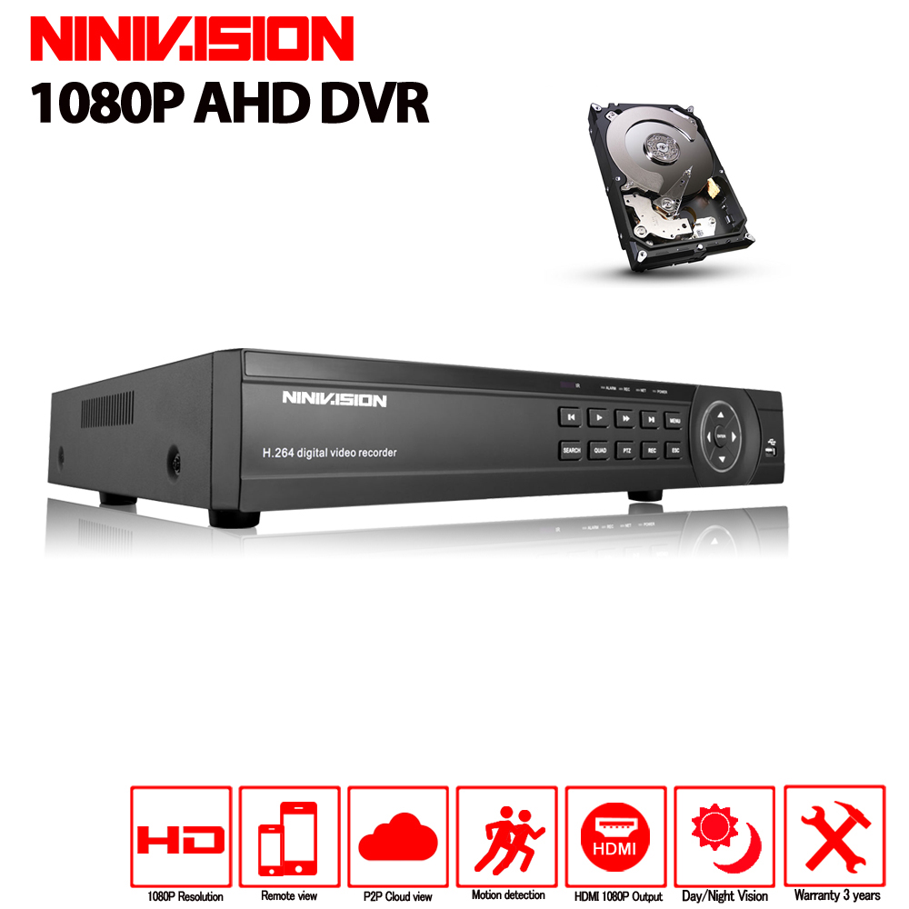 NINIVISION Super 16CH AHD DVR HD 1080P Video Recorder H.264 CCTV Camera Onvif Network 16 Channel IP NVR Multilanguage 2TB HDD super 4ch ahd dvr ahd nh hd full hdmi 1080p 1080n video recorder h 264 cctv camera onvif network 4 channel ip nvr multilanguage