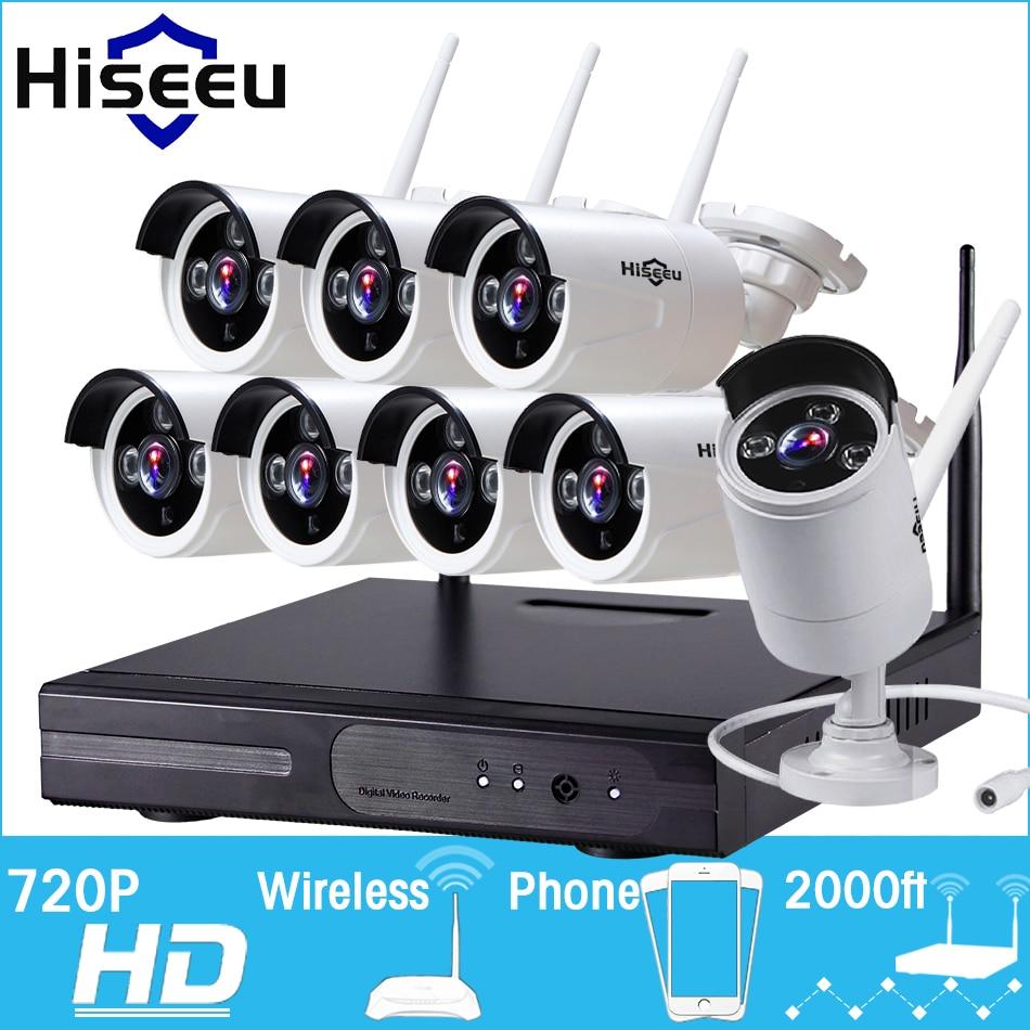 CCTV System 720P 8CH HD Wireless kit Night Vision IP Camera wifi CCTV Camera kit  Home Security System video Surveillance Hiseeu