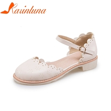 4c402d9a53ca4 KARINLUNA New women s Square Heels Ankle Strap Solid Round Toe Shoes Woman  Summer Shoes Comfortable Sandals