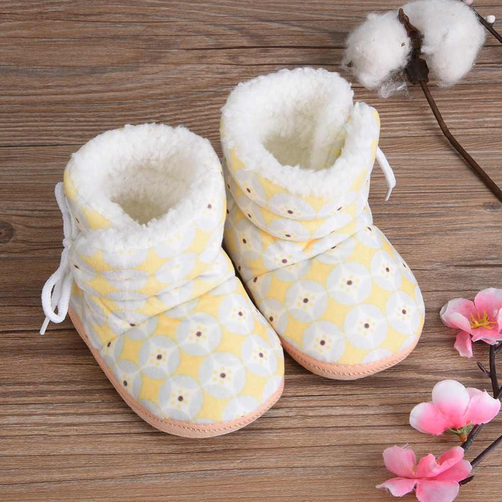 Baby Boots 2018 Winter Infant Toddler Newborn Kids Baby Shoes Coral Fleece Lace Up Snow Boots Winter Warm Boots Fashion Print