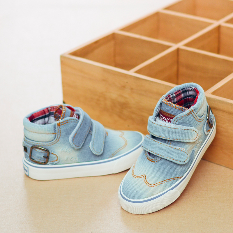 Childrens Shoes Boys Denim Canvas Shoes 2017 New Kids Girls Boys High-top Breathable Casual Children Shoes Children Sneakers