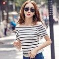 2017 o Slash Pescoço T-shirt Das Mulheres de Verão Top Tees Preto/Branco Listrado t shirt de slim plus size t shirt women's clothing barato China