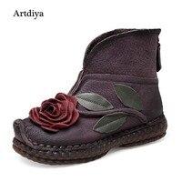 2017 New Winter Boots Folk Style Flower Genuine Leather Women Boots Flat Casual Retro Handmade Original