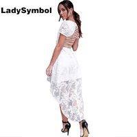 LadySymbol Outono Elegantes Mulheres Vestido de Renda Manga Curta Backless Lace Up Branco Sexy Azul Vestidos de Festa de Praia Ocasional do Verão Das Mulheres