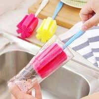 Punho longo fácil copo escova esponja limpador de limpeza escova garrafa copo de vidro purificador limpeza ferramenta cozinha
