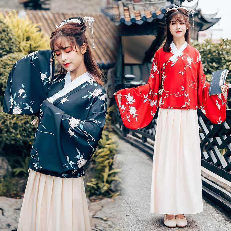 Women Printing Dance Costume Chinese Hanfu Ming Dynasty Festival Outfit Stage Performance Clothes Lady Folk Fairy Dress DF1026