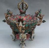 15 Old Tibet Royal Palace Turquoise Dragon Elephant Head Incense Burner Censer