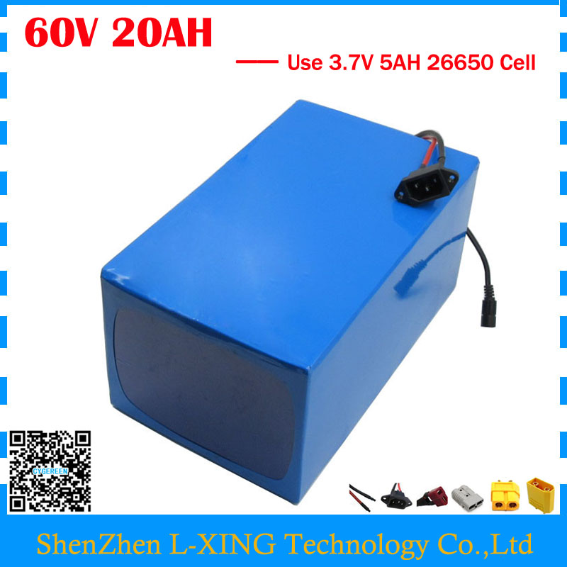 EU US no tax 1800W 60V 20AH Lithium battery 60V 20AH ebike Battery 60V e-scooter battery with PVC Case use 3.7V 5AH 26650 cell