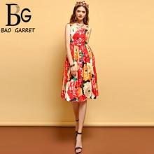 Baogarret Fashion Runway Summer Dress Womens Spaghetti Strap Button Floral Printed Vacation Casual Elegant