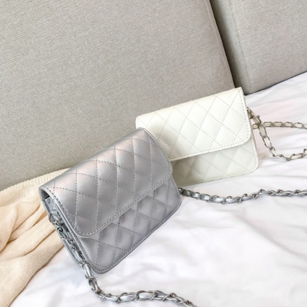 2019 Novas Mulheres bolsa Bolsas de couro Das Mulheres Xadrez Moda Correntes de Prata Bolsa De Ombro Crossbody bag para Mulheres Bolsas Feminina