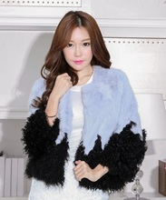 Genuine Rabbit Fur Coat with Lamb fur Lap & Cuff New Design 2016 Winter Overcoat Fur Jacket