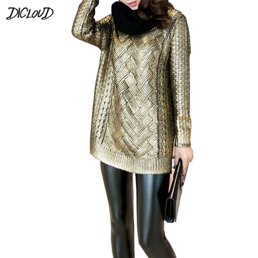 DICLOUD Bronzing Silver Knitted Sweater Women 2018 Ladies Pullovers Gold Silver Round Neck Sweater Casual Women Coat Fashion