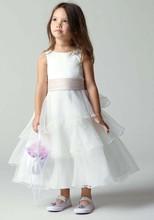 2016 children very hot beauty dress white gauze flower girl dress length and girl gown party girl beauty dress shoes