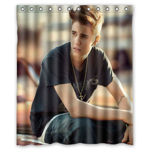 Free Shipping Classical Design Bath Curtain Print Cool Man Justin Bieber Shower Curtains Bathroom Waterproof 152x182cm