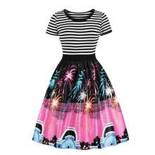 hot deal buy 2018 2018 christmas cartoon patchwork dresses vintage a-line short striped print ankle-length o-neck patchwork dresses