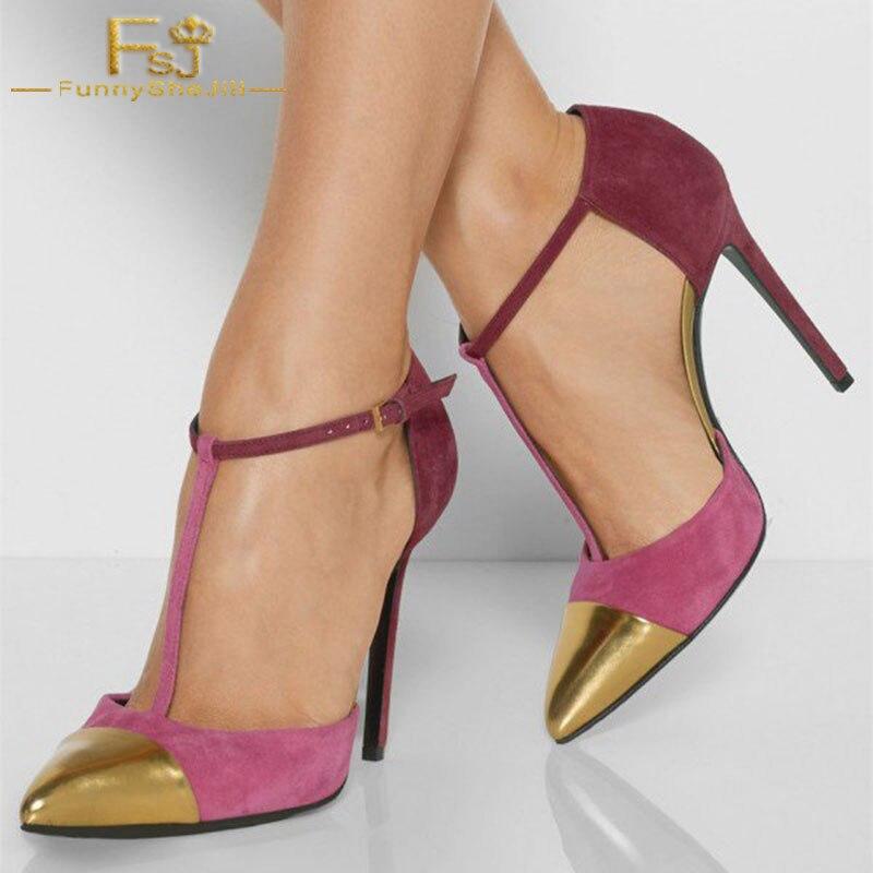 Shoes11 Et Pumpsvgold 12 Grande 13 2018 Automne Sangle T Chaussures Printemps Talons Taille Dames Orchidée Fsj01 Femmes Cheville Fsj wCA1qaIxZn
