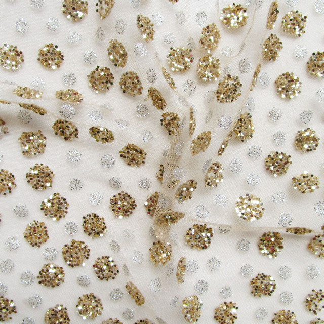 New african wedding dress glitter sequins net fabric french gold silver dot  perspective shining print mesh fabric sewing cloth 31dee2b52465