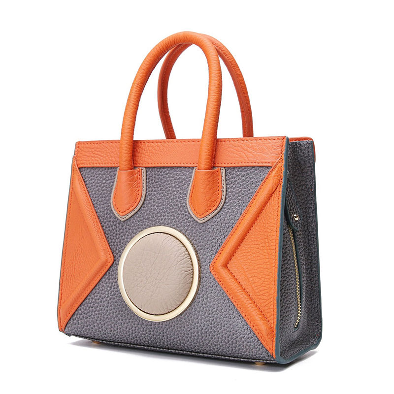 76645522b5afad New Arrival Genuine Leather Women's Bag Fashion Color Patchwork Leisure  Shoulder Bags