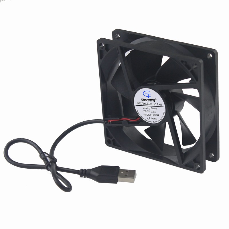Gdstime 2 pieces 92x92x25mm 9225 USB Axial Motor Cooling Fan 92mm x 25mm 5V 9cm DC Brushless PC Case Cooler 90mm 2 pieces printing cup 0d 90mm 6 pieces rubber seals 90mm
