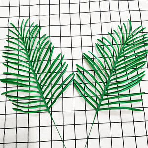 Image 5 - 20 stücke Kunststoff Künstliche Palme Blätter Zweig Grün Pflanzen Gefälschte Tropischen Blatt Startseite Hochzeit Dekoration Blume Anordnung