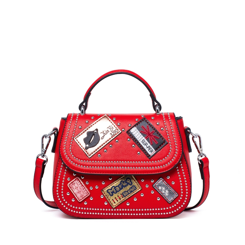 ФОТО Hot!Women Shoulder Bags Rock Rivet Cover Saddle Bag Patchwork Ladies Messenger Bag Designer Handbags High Quality Brand Bag 2017
