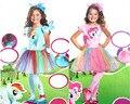 Бесплатная доставка, Роскошные My Little Pony платье сумерки искра синий Радуга Тире розовый Мизинец платье костюм оголовье с крыла