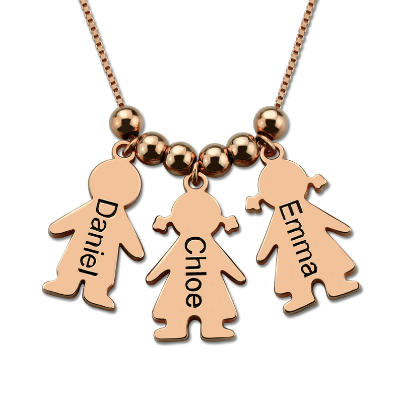 Engraved Name Children Charms Necklace Mother Necklace with Kids Charms Rose Gold Color