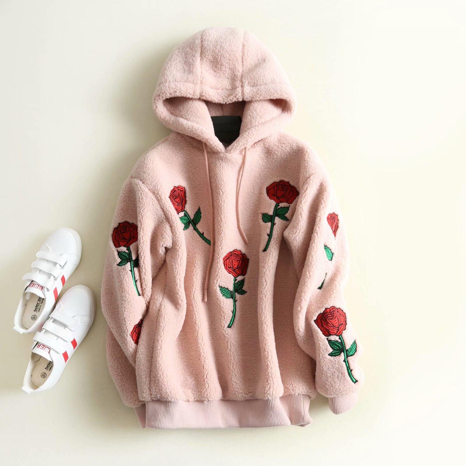 New Valentine Women Sweatshirt Embroidery Roses Hoodies Pink Sweatshirts Clothing Plus Size
