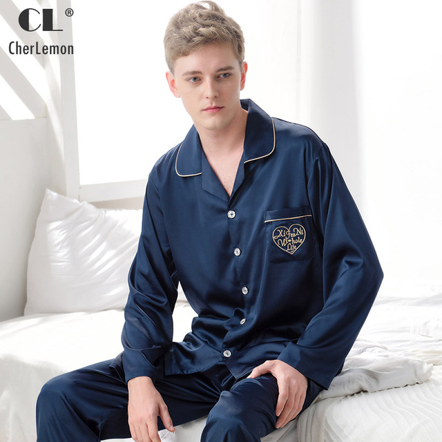 73fb665a73 CherLemon Mens 2 Pcs Classic Silk Satin Pajama Set Male Spring Long Sleeve  Solid Sleepwear Luxurious Pyjamas Loungewear L-3XL